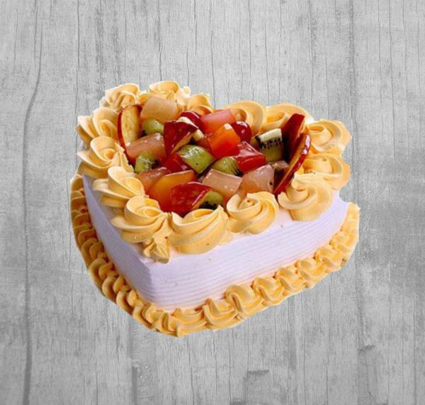 fresh fruit heart cake